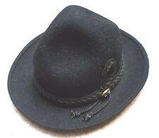 Trachtenhut schwarz 1-Zierknopf mit Kordel Haarfilz Herren Gr. 55