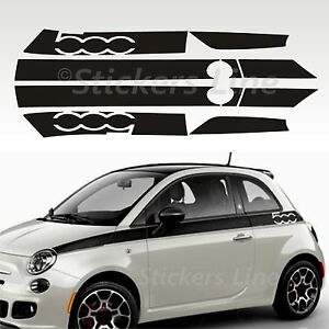 Fasce adesive Fiat 500 strisce fiancate laterali LOGO adesivi 500 stripes