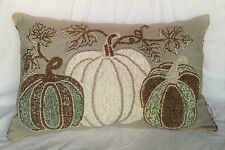 NEW Beaded Embroidered Lace Pumpkin Throw Pillow Sage Green Gold Silver Bling