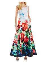 Nicole Miller New York Multi Color Floral Dress Fit -and-Flare Mikado Dress 8