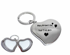 Hearts Happy Mothers Day Silver Heart Photo Locket Keyring-Free Engraving