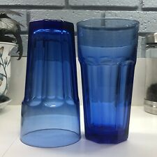 2 Libbey Cobalt Blue Gibraltar DuraTuff 8-Paneled Glasses 7Inches Tall