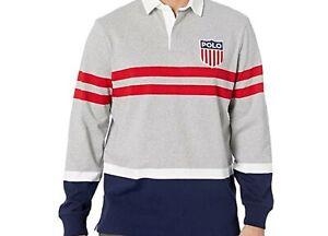 Polo Ralph Lauren Men Polo Rugby Shirt Gray Blue  Classic Stripe  Medium