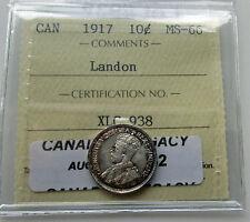 Canada 1917 10 Cents ICCS MS 66 Landon Sale Silver Dime Certified
