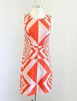 Vince Camuto Womens Orange Abstract Geometric Sleeveless Dress Size 2 Diamond