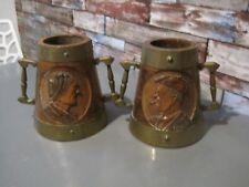 2  Pichets a cidre Breton ancien   en bois décor de femme/ homme  avec signature