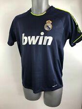 Para Hombre Real Madrid Ronaldo Verde Azul Marino A Rayas Manga Corta Camiseta Talla 14