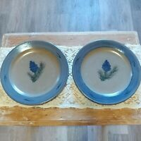 "Rowe Pottery Works 10 1/2"" Blue Pine Cone Dinner Plate Salt Glazed 2pc EUC"