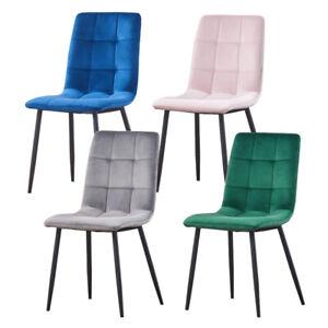 2/4Pcs Velvet Dining Chairs Living Chairs Black Metal Legs Hotel Study Coffee UK