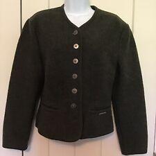Geiger Women's AUSTRIAN WOOL Cardigan Sweater Sz Aus 36/US 6 Olive Jacket