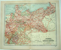 Original 1895 Map of Prussia and the German Empire by Dodd Mead & Company