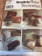 S7196 New Uncut Simplicity Home Decorating Pillow Pattern