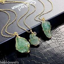 1 Damen Halskette Halsschmuck mit Grün Natur Achat Anhänger Modeschmuck