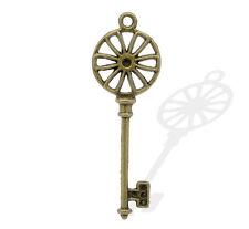 2 Pcs Antique Bronze Key Charm Pendants 64x21mm LC1867