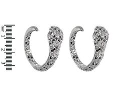 Pave Black & Clear Inside Out Snake Cubic Zirconia Hoop Rhodium Earrings-CZ-30mm