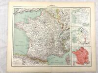 1894 Antique Map of France Administrative Region Original 19th Century French