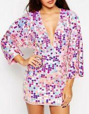 NEW | ASOS - Iridescent Oversized Sequin Kaftan Mini Dress pink/purple Size 14