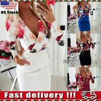 US Women's Sexy V Neck Sleeveless Floral Mini Dress Party Slim Bodycon Dresses