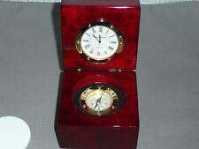 Clock and Compass Mounted in Mahogany Piano Finish Box