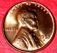 1955 S LINCOLN WHEAT CENT CH RED GEM BRILL UNCIRCULATED