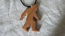Bigfoot Sasquatch Yeti -Wood pendant and cord necklace-