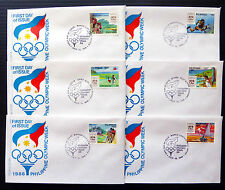 PHILIPPINES 1988 Olympic Sports Complete Sets of 6 OFFICIAL FDC's...BIN1361