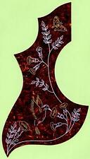 "LEFT HANDED ""HUMMINGBIRD"" DESIGN ACOUSTIC GUITAR PICKGUARD SCRATCHPLATE, NEW"