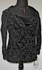 Notations Women's Blouse Top Burn Out Cowlneck Formal Beaded Black Petite Large