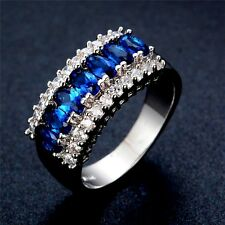 Silver Plated Royal Blue And White Cubic Zirconia Ring Various Sizes