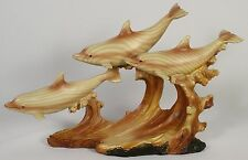 DOLPHIN TRIO FAUX WOOD CARVING Figure Statue NEW Ocean Sea Wildlife Fish Animal