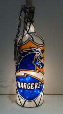 San Diego Chargers inspired Bottle Lamp Handpainted Stained Glass Look Lighted