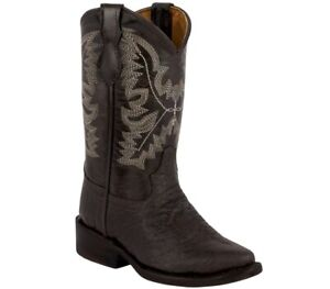 Boys Kids Brown Buffalo Cowboy Boots Bull Pattern Western Leather Rodeo Children