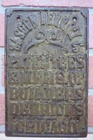 SASGEN DERRICK Co Builders Derricks CHICAGO Antique Cast Iron Plaque Ad Sign