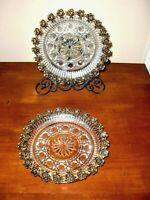 "VTG~WINDSOR FEDERAL GLASS W/BRASS FLORAL ORNAMENT EDGE~2PC~CANDY NUT DISHES 7""D"