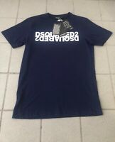 Mens DSQUARED2 MIRROR LOGO T Shirt New 2020 Edition Navy XL Brand New With Tags