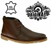IKON Luger Chukka Mens Leather Desert Ankle Dress Casual Boots Brown Shoes Size