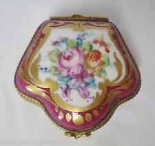 Porcelain Trinket Box Cranberry & Gold Pink Rose Flowers Decor Mein Dt Limoges