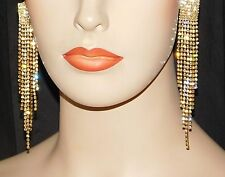 """Gold Clip Earrings With Clear Rhinestone Crystal Bridal 4.1/2"""" Long"""