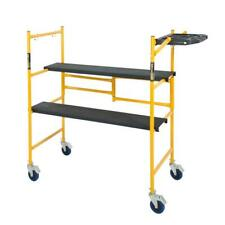Mini Rolling Scaffold Lightweight Steel Fold 500lb Load Capacity with Tool Shelf