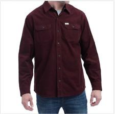 Mens Eddie Bauer L/s Maroon Cross Cut Cord Cotton Shirt Size M Medium