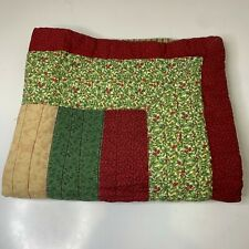 quilted pillow sham pocket closure red and green 29x23 french country cottage