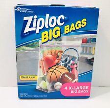 "New listing Ziploc Big Bag 4 Count Xl 10 Gallon 2'x20"" Double Zipper Sturdy Handle Zip Lock"