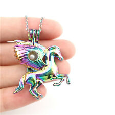 """C843 Colorful Wing Horse Unicorn Pearl Cage Diffuser Locket Steel Necklace 18"""""""