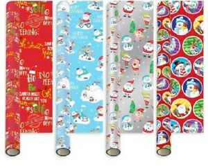 Christmas Wrapping Paper 20m (4 x 5m)  Gift Wrap Rolls Cute Novelty Design gw101