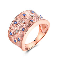 Solid 18K Rose Gold Blue Sapphire&White Sapphires Vintage Antique Fine Band Ring
