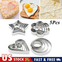 5pcs Stainless Steel Fondant Baking Cake Mold Cookie Biscuit Cutter Mould Set US