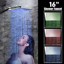 16'' LED Rain Shower Faucet Wall Mount Shower Arm Rainfall Head Brushed Nickel