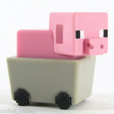 Minecraft Mini Figure Series 6 End Stone Series Loose Pig in Minecart