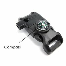 Compass Survival Whistle Buckle Flint Fire Starter Scaper for Paracord Bracelet