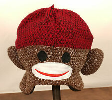 SOCK MONKEY HAT Knit Brown/Red ADULT Animal Costume Ski Cap Toque Beanie Unisex